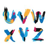 Hand drawn with ink brush strokes alphabet letters U, V, W, X, Y and Z. Bright watercolor blobs and imprints in vivid typography d Royalty Free Stock Photo