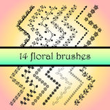 Hand Drawn Ink Brushes. All used pattern brushes are included in brush palette. 14 Vector Decorative Scribble Paintbrushes with Inner and Outer Corners. Hand Stock Image