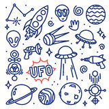 Hand drawn ink cartoon Alien space vector set Stock Photo