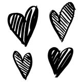 Hand-drawn ink collection. Vector hand-painted ink illustration with hearts. Abstract background. Doodles.r Royalty Free Stock Photography