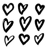 Hand-drawn ink collection. Vector hand-painted ink illustration with hearts. Abstract background. Doodles.r Royalty Free Stock Image