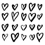 Hand-drawn ink collection. Vector hand-painted ink illustration with hearts. Abstract background. Doodles.r Stock Image