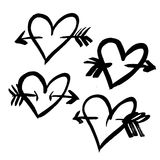 Hand-drawn ink collection. Vector hand-painted ink illustration with hearts. Abstract background. Doodles.r Stock Photography