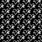 Hand-drawn ink collection. Vector hand-painted seamless pattern with ink hearts. Abstract background. Doodles Stock Image