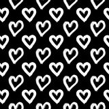 Hand-drawn ink collection. Vector hand-painted seamless pattern with ink hearts. Abstract background. Doodles Stock Photos