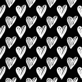 Hand-drawn ink collection. Vector hand-painted seamless pattern with ink hearts. Abstract background. Doodles Royalty Free Stock Images