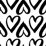 Hand-drawn ink collection. Vector hand-painted seamless pattern with ink hearts. Abstract background. Doodles.r Royalty Free Stock Photography