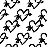 Hand-drawn ink collection. Vector hand-painted seamless pattern with ink hearts. Abstract background. Doodles.r Stock Photos