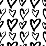 Hand-drawn ink collection. Vector hand-painted seamless pattern with ink hearts. Abstract background. Doodles.r Royalty Free Stock Image