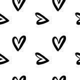 Hand-drawn ink collection. Vector hand-painted seamless pattern with ink hearts. Abstract background. Doodles.r Royalty Free Stock Photos