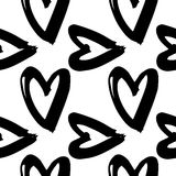 Hand-drawn ink collection. Vector hand-painted seamless pattern with ink hearts. Abstract background. Doodles.r Royalty Free Stock Photo
