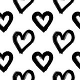 Hand-drawn ink collection. Vector hand-painted seamless pattern with ink hearts. Abstract background. Doodles.r Royalty Free Stock Images
