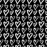 Hand-drawn ink collection. Vector hand-painted seamless pattern with ink hearts. Abstract background. Doodles.r Stock Image
