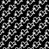 Hand-drawn ink collection. Vector hand-painted seamless pattern with ink hearts. Abstract background. Doodles.r Stock Photography