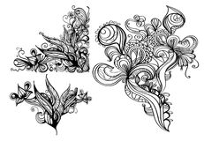 Hand-drawn ink design elements vector illustration