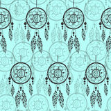 Hand-drawn with ink dreamcatcher with feathers, arrows. Seamless pattern. vector illustration