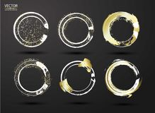 Hand drawn ink grunge circles set. Design elements round frames. White shapes circles with gold strokes, dry brush strokes. Grunge. Style, background. Logo Vector Illustration