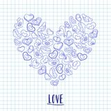 Hand drawn ink hearts on a notebook piece of paper. Valentines day illustration for a love card or invitation. Royalty Free Stock Images