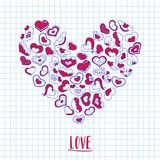 Hand drawn ink hearts on a notebook piece of paper. Valentines day illustration for a love card or invitation. Royalty Free Stock Image