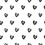 Hand drawn ink hearts seamless pattern vector stock illustration