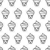 Hand Drawn Ink Ice Cream Seamless Pattern. Sweet ice cream pattern with hand drawn ink ice cream. Cute vector black and white ice cream pattern. Seamless Stock Image
