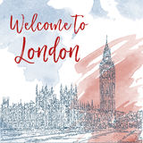 Hand drawn ink line sketch of London. Watercolor background Royalty Free Stock Photography