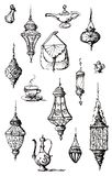 Hand Drawn Oriental Bazaar Goods Set. Hand Drawn ink linearts of Oriental Lamps, Cutlery from Istanbul Bazaar stock illustration