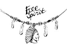 Hand drawn ink necklace in boho style - free spirit. Hand drawn ink necklace in boho style with war bonnet and feathers. Could be used for t-shirt design. Vector Royalty Free Stock Photography