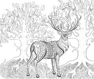 Hand drawn ink pattern. Coloring book for adult Royalty Free Stock Images