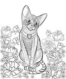 Hand drawn ink pattern. Coloring book for adult Royalty Free Stock Photos