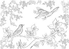 Hand drawn ink pattern. Coloring book Coloring for adult Page for coloring book: very interesting and relaxing Royalty Free Stock Photo
