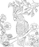 Hand drawn ink pattern. Coloring book Coloring for adult Page for coloring book: very interesting and relaxing Stock Photos
