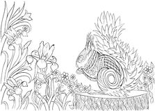 Hand drawn ink pattern. Coloring book Coloring for adult Page for coloring book: very interesting and relaxing Royalty Free Stock Images
