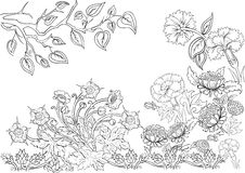 Hand drawn ink pattern. Coloring book Coloring for adult Page for coloring book: very interesting and relaxing Stock Photography