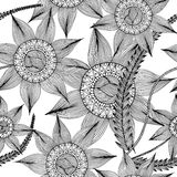 Hand drawn with ink seamless pattern background with abstract doodles, flowers, leaves. Stock Image