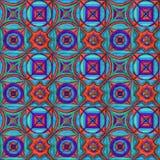 Hand-drawn ink seamless pattern. Blue, red, purple, green stock illustration