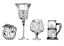 Hand drawn ink set of wineglasses and glass utensils royalty free illustration