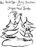 Hand drawn ink sketch. Christmas greeting card. Snowman and fir tree. Hand written text We wish you a Merry Christmas and Happy New Year Stock Image