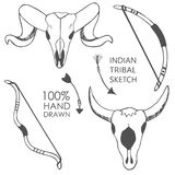 Hand drawn with ink sketch illustration with bow, bull skulls, arrows. Royalty Free Stock Images