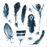 Black and white ink sketch of the monochrome graphic bird feathers and the ink blots. Illustration vector illustration