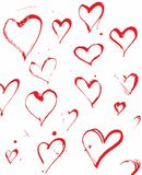 Hand drawn ink splatter hearts vector Royalty Free Stock Image