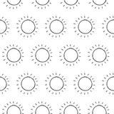 Hand Drawn Ink Sun Seamless Pattern Stock Photo