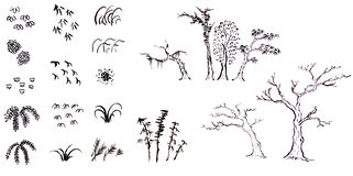 Hand drawn ink trees and leaves Stock Images