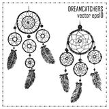 Hand-drawn with ink two dreamcatchers with feathers. Royalty Free Stock Photography