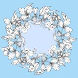 Hand drawn ink wedding wreath with flowers and leaves, butterfly. vector eps 10