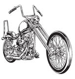 Hand drawn and inked vintage American chopper motorcycle royalty free illustration