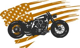 Hand drawn and inked vintage American chopper motorcycle with american flag stock photos
