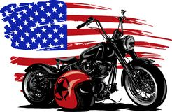 Hand drawn and inked vintage American chopper motorcycle with american flag vector illustration