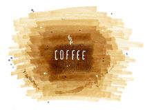 Hand-drawn inscription Coffee on brown background Stock Image