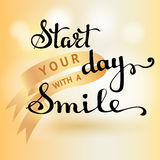 Start The Day With A Smile Inspiration Quote Black Vector Stock